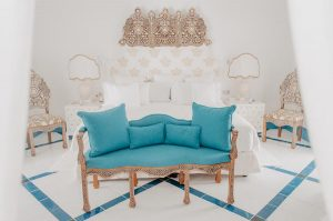 Blue and white room in Tre Ville Hotel