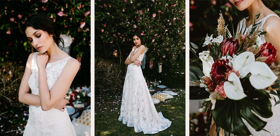 Abito e bouquet boho chic per il destination wedding